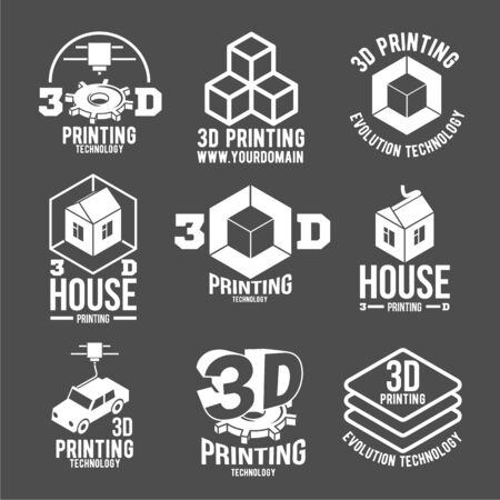 3D printer vector icons logo types and badges.
