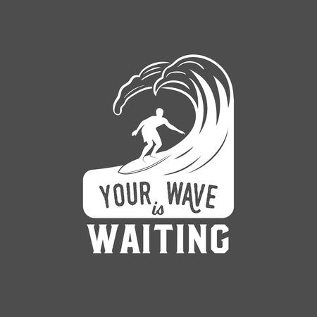 vintage surfing label, badge and emblems