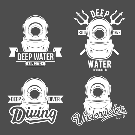 set of diving vintage labels and logos