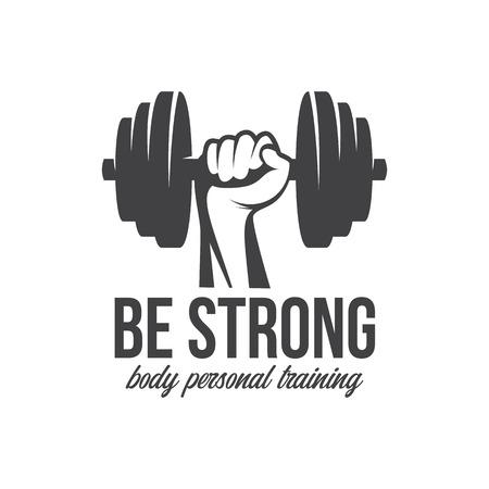 Culturismo, levantamiento de pesas, pesas rusas, símbolo de signo de logotipo de entrenamiento. Elementos de diseño de emblema de logotipo de fitness. Icono y elementos deportivos. Logos