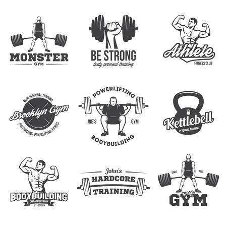 La musculation, la dynamophilie, la kettlebell, les logotypes d'entraînement signent des symboles. Éléments de conception d'emblèmes de logos de remise en forme. Icônes et éléments sportifs. Logo