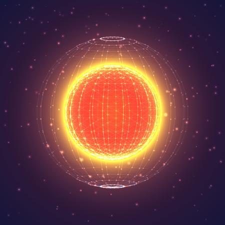 Vektor interstellaren Raum polygonalen Hintergrund. Kosmische Galaxienillustration. Hintergrund mit Nebel, Sternenstaub und hell leuchtenden Sternen.