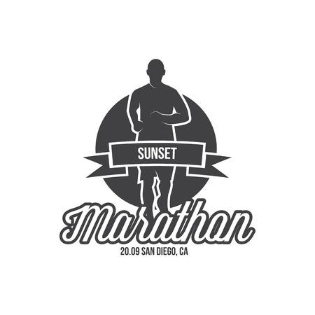Running logo, marathon concept, sport activities, triathlon vector line icon Standard-Bild - 122108814