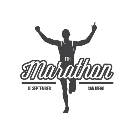Running logo, marathon concept, sport activities, triathlon vector line icon Banco de Imagens