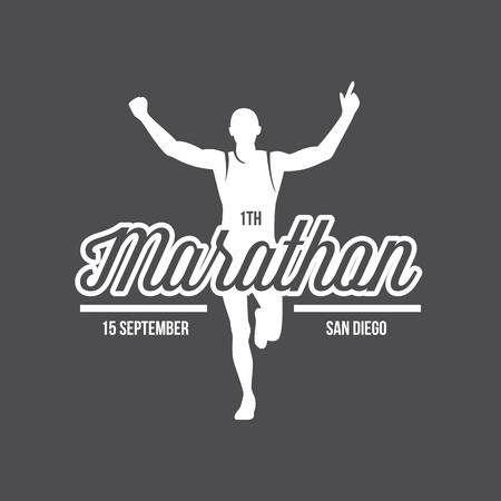 Running logo, marathon concept, sport activities, triathlon vector line icon Ilustrace