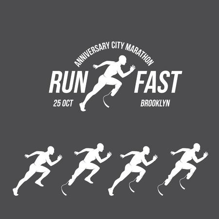 Running logo, marathon concept, sport activities, triathlon vector line icon 向量圖像
