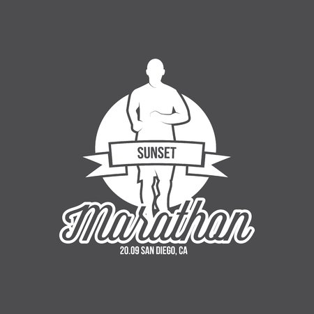 Running logo, marathon concept, sport activities, triathlon vector line icon 일러스트