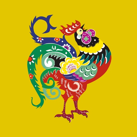 year of rooster: Color polla Vectores