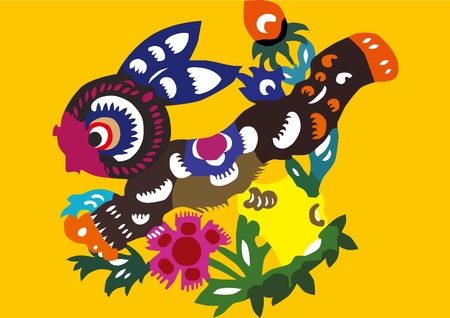 Chinese folk style rabbit Vector