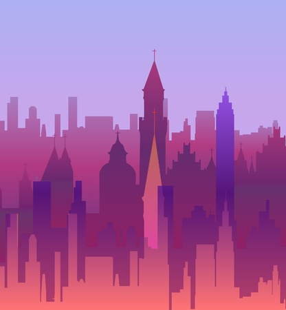 abstract modern city on sunset background Stock Vector - 16609178