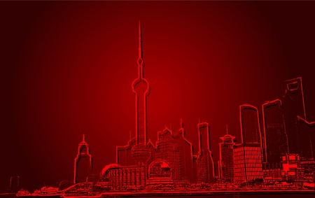 Shanghai skyline of modern office building Vector