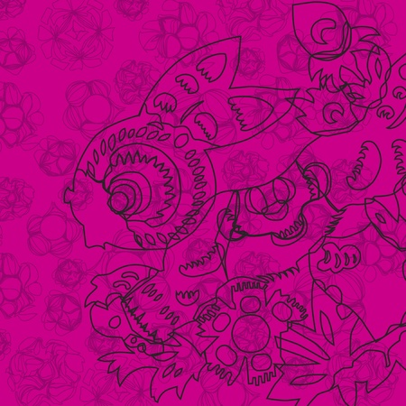 pink Chinese style rabbit pattern Vector