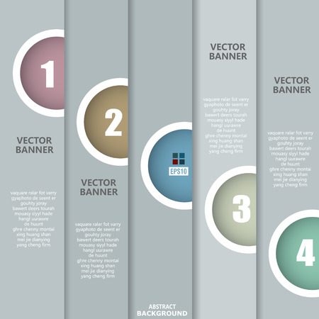 gray paper numbered banners background Vector