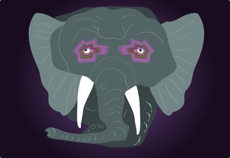 caged: old elephant