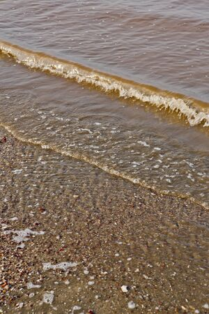 tiresome: sea touching the shore