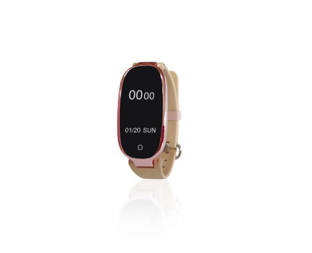 Isolated on white background of rose pink wristband or smart band with reflection and clipping path. The black display show digital time of 00.00 and 01/2020 on Sunday. Banque d'images