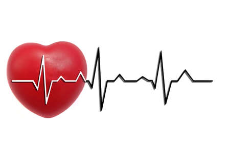 Isolated on white background of red heart with black-white cardiogram line.