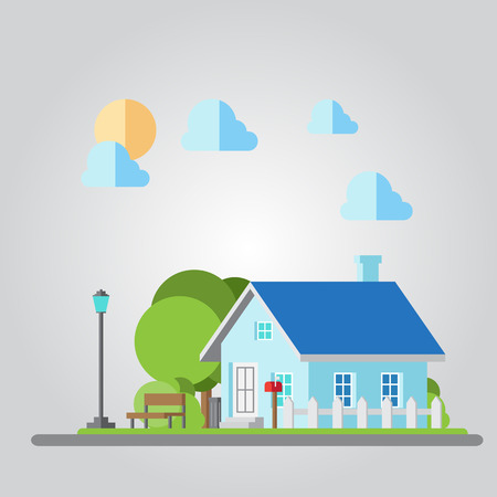 fench: Flat design countryside house illustration