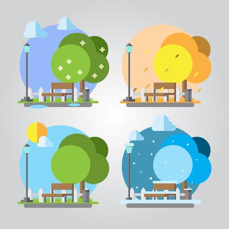 banc de parc: Design plat quatre saisons parc illustration