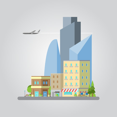 airplane window: Flat design of colorful cityscape illustration