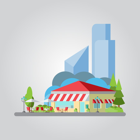 outdoor dining: Flat design of colorful cityscape illustration