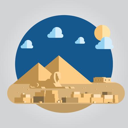 sphinx: Design piatto di piramide e sfinge in Egitto illustrazione