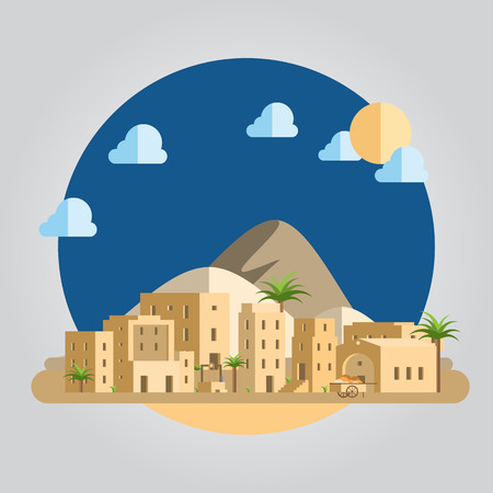 사막 마을 그림의 플랫 디자인