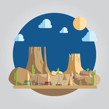 desert: Flat design of western desert illustration Illustration