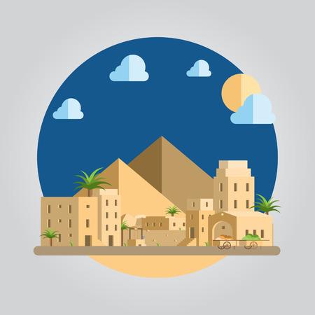 desert: Flat design of desert village illustration