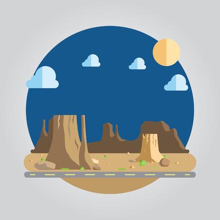 desert sun: Flat design of western desert illustration Illustration