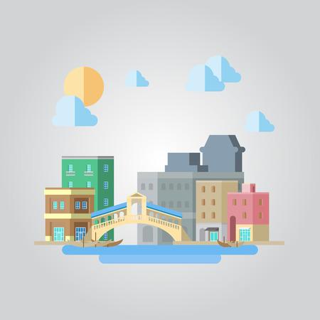 venice italy: Flat design of venice bridge cityscape illustration