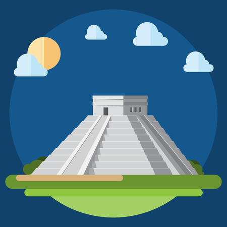 Flat design of Chichen Itza illustration vector Reklamní fotografie - 32490205