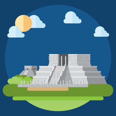 itza: Flat design of Chichen Itza illustration vector