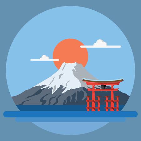 일본 그림 벡터의 플랫 디자인 풍경 일러스트
