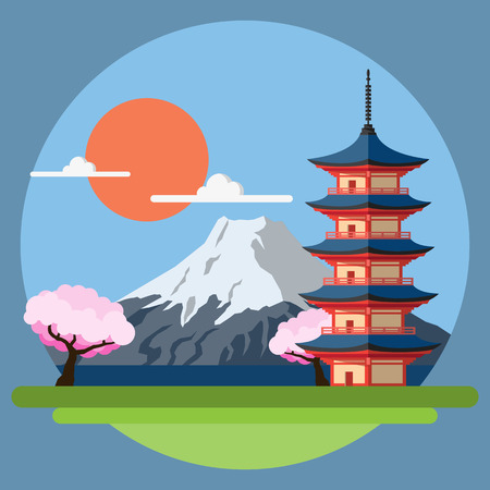 cherry blossom tree: Flat design landscape of Japan illustration vector