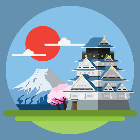 japanese flower: Flat design landscape of Japan illustration vector