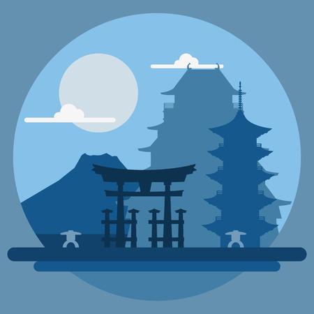 フラットなデザイン日本イラスト ベクトルの風景  イラスト・ベクター素材