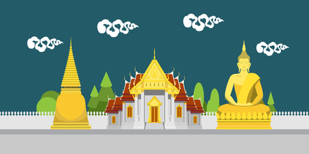 Flat design landscape of Thailand temple illustration vector Çizim