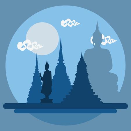 Flat design landscape of Thailand temple illustration vector Иллюстрация