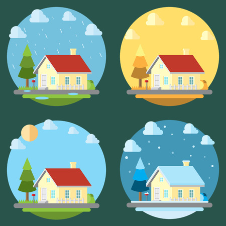 Pack of flat design four seasons illustration vector Vector