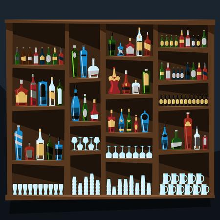 Alcohol shelf background full of bottles illustration vector Çizim