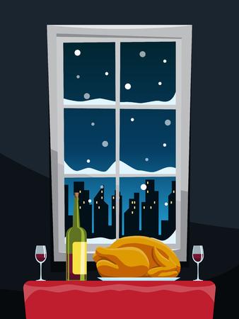 Romantic dinner with turkey on table near window illustration vector Vector