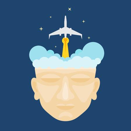 rocketship: Flat design of rocket launching from a mans head illustration vector Illustration