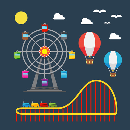 theme parks: Flat design of carnival festival illustration vector Illustration
