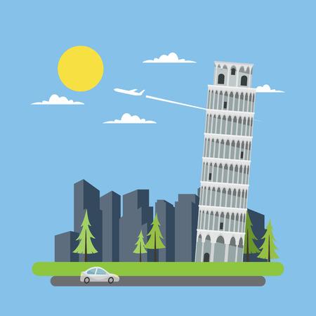 pisa: Flat design leaning tower of Pisa illustration vector
