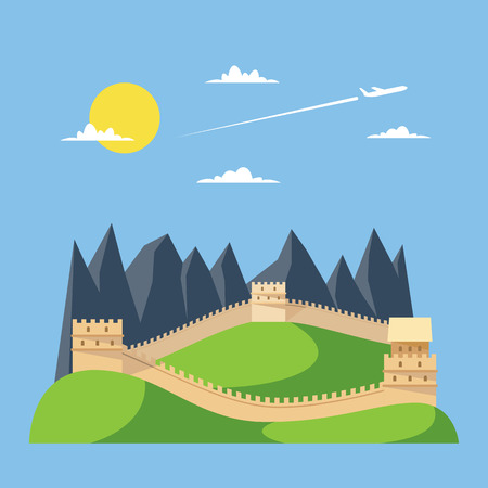 wall clouds: Flat design great wall of China illustration vector