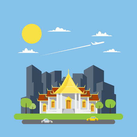 the temple: Flat design of Thai temple illustration vector