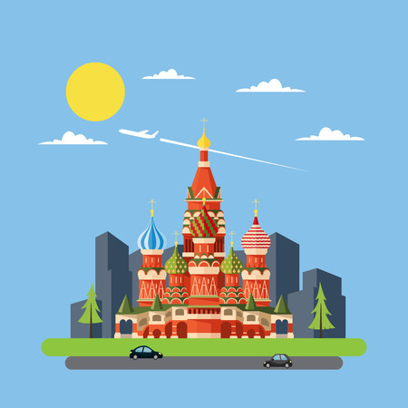 Flat design of Russia castle illustration vector Vector