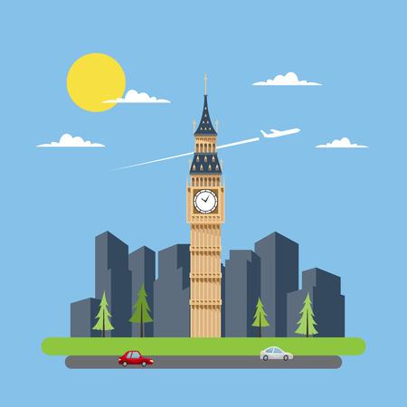 clock tower: Flat design of Big Ben illustration vector