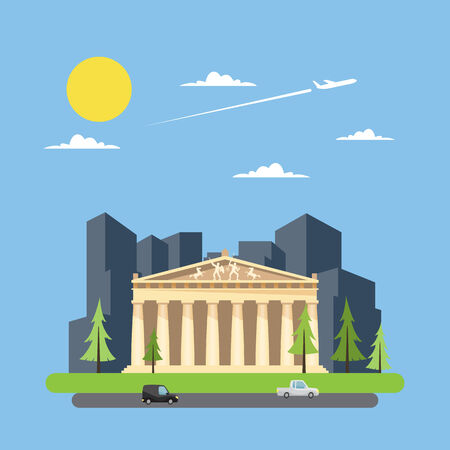 parthenon: Flat design of parthenon greek illustration vector